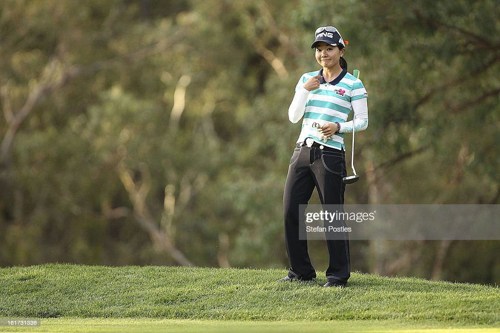 Ayako Uehara of Japan during day two of the ISPS Handa Australian Open at Royal Canberra Golf Club on February 15, 2013 in Canberra, Australia.