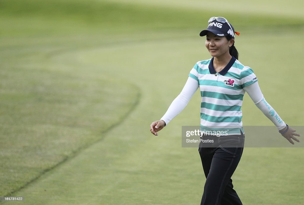 Ayako Uehara of Japan finishes her round during day two of the ISPS Handa Australian Open at Royal Canberra Golf Club on February 15, 2013 in Canberra, Australia.