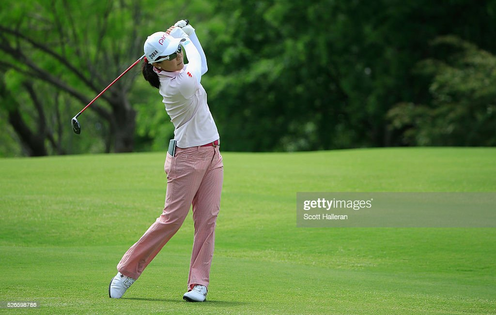 <a gi-track='captionPersonalityLinkClicked' href=/galleries/search?phrase=Ayako+Uehara+-+Golf&family=editorial&specificpeople=4690711 ng-click='$event.stopPropagation()'>Ayako Uehara</a> of Japan hits a shot on the seventh hole during the third round of the Volunteers of America Texas Shootout at Las Colinas Country Club on April 30, 2016 in Irving, Texas.