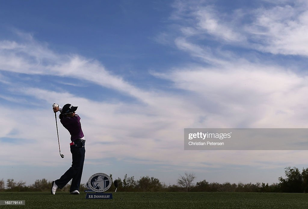 Ayako Uehara of Japan hits a tee shot on the 17th hole during the second round of the RR Donnelley LPGA Founders Cup at Wildfire Golf Club on March 15, 2013 in Phoenix, Arizona.