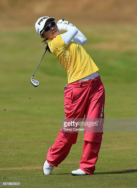 Ayako Uehara of Japan hits an approach during the first round of the Ricoh Women's British Open at Royal Birkdale on July 10 2014 in Southport England