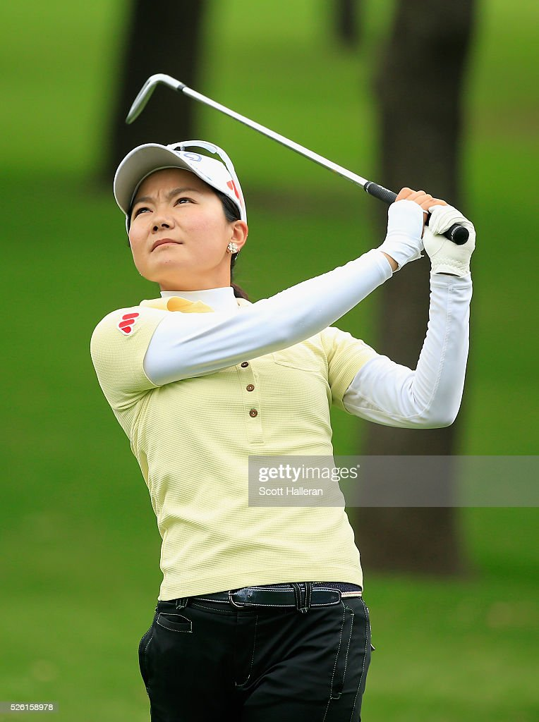 <a gi-track='captionPersonalityLinkClicked' href=/galleries/search?phrase=Ayako+Uehara+-+Golfer&family=editorial&specificpeople=4690711 ng-click='$event.stopPropagation()'>Ayako Uehara</a> of Japan hits her approach shot on the second hole during the second round of the Volunteers of America Texas Shootout at Las Colinas Country Club on April 29, 2016 in Irving, Texas.