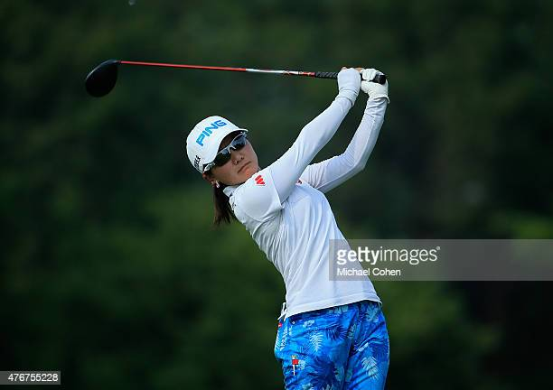Ayako Uehara of Japan hits her derive on the 18th hole during the first round of the KPMG Women's PGA Championship held at Westchester Country Club...