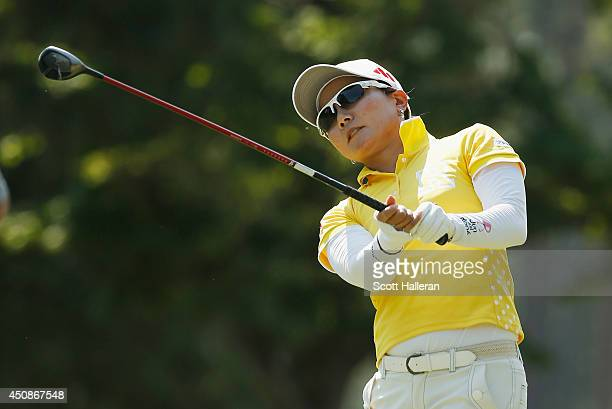 Ayako Uehara of Japan hits her tee shot on the 15th hole during the first round of the 69th US Women's Open at Pinehurst Resort Country Club Course...