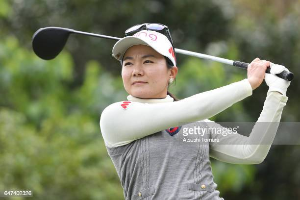 Ayako Uehara of Japan hits her tee shot on the 3rd hole during the second round of the Daikin Orchid Ladies Golf Tournament at the Ryukyu Golf Club...
