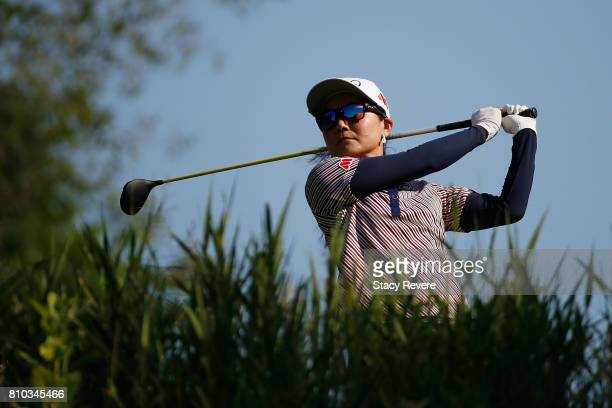 Ayako Uehara of Japan hits her tee shot on the first hole during the second round of the Thornberry Creek LPGA Classic at Thornberry Creek at Oneida...