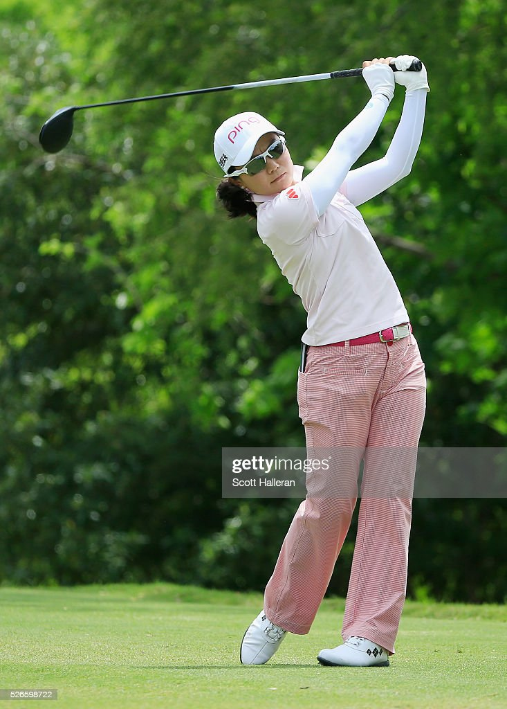 <a gi-track='captionPersonalityLinkClicked' href=/galleries/search?phrase=Ayako+Uehara+-+Golfer&family=editorial&specificpeople=4690711 ng-click='$event.stopPropagation()'>Ayako Uehara</a> of Japan hits her tee shot on the seventh hole during the third round of the Volunteers of America Texas Shootout at Las Colinas Country Club on April 30, 2016 in Irving, Texas.