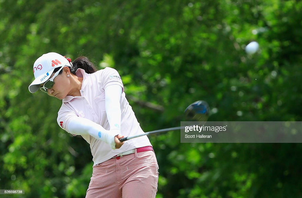 <a gi-track='captionPersonalityLinkClicked' href=/galleries/search?phrase=Ayako+Uehara+-+Golf&family=editorial&specificpeople=4690711 ng-click='$event.stopPropagation()'>Ayako Uehara</a> of Japan hits her tee shot on the seventh hole during the third round of the Volunteers of America Texas Shootout at Las Colinas Country Club on April 30, 2016 in Irving, Texas.