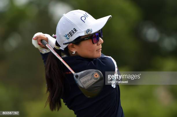 Ayako Uehara of Japan hits her tee shot on the tenth hole during the second round of the Walmart NW Arkansas Championship Presented by PG on June 24...