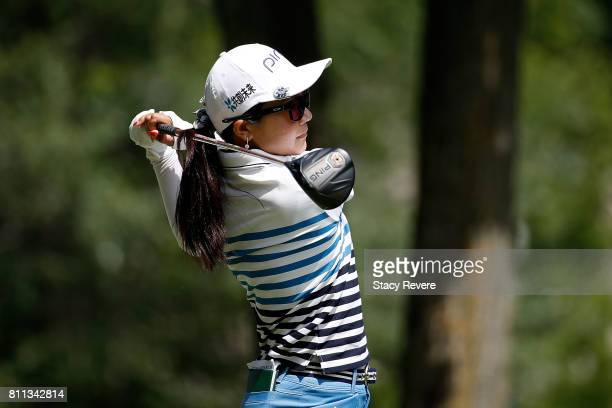 Ayako Uehara of Japan hits her tee shot on the third hole during the final round of the Thornberry Creek LPGA Classic at Thornberry Creek at Oneida...