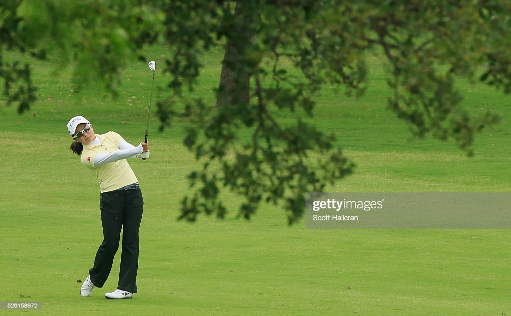 <a gi-track='captionPersonalityLinkClicked' href=/galleries/search?phrase=Ayako+Uehara+-+Golfer&family=editorial&specificpeople=4690711 ng-click='$event.stopPropagation()'>Ayako Uehara</a> of Japan hits her third shot on the third hole during the second round of the Volunteers of America Texas Shootout at Las Colinas Country Club on April 29, 2016 in Irving, Texas.
