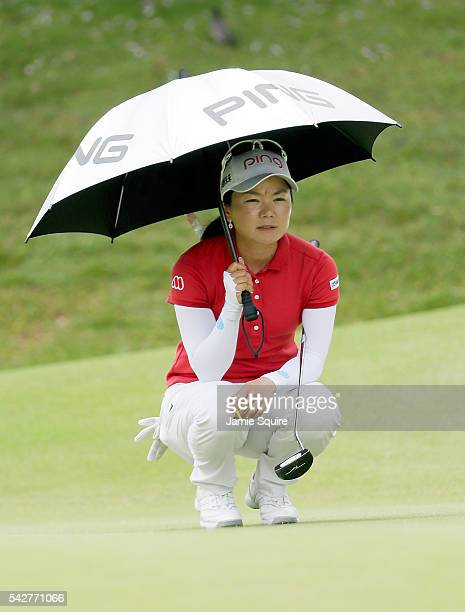 Ayako Uehara of Japan lines up a putt on the 9th hole during the first round of the Walmart NW Arkansas Championship Presented by PG on June 24 2016...