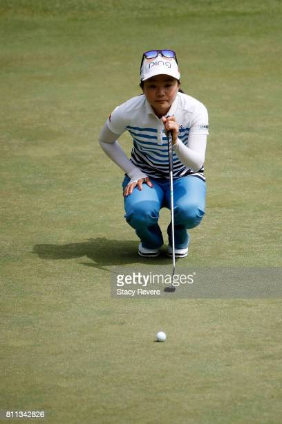 Ayako Uehara of Japan lines up a putt on the first green during the final round of the Thornberry Creek LPGA Classic at Thornberry Creek at Oneida on...