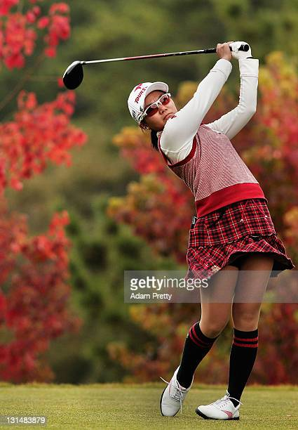 Ayako Uehara of Japan plays a shot during the second round of the Mizuno Classic at Kintetsu Kashikojima Country Club on November 5 2011 in Shima...
