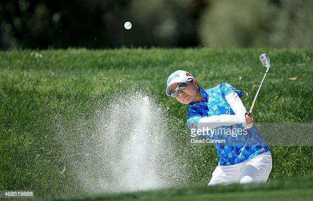 Ayako Uehara of Japan plays her third shot at the par 4 7th hole during the second round of the ANA Inspiration on the Dinah Shore Tournament Course...
