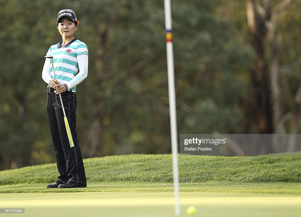 Ayako Uehara of Japan putts during day two of the ISPS Handa Australian Open at Royal Canberra Golf Club on February 15, 2013 in Canberra, Australia.