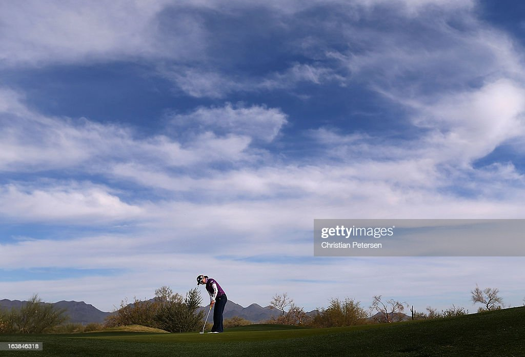 Ayako Uehara of Japan putts on the 16th hole green during the second round of the RR Donnelley LPGA Founders Cup at Wildfire Golf Club on March 15, 2013 in Phoenix, Arizona.