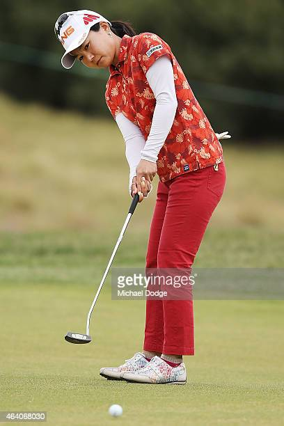 Ayako Uehara of Japan putts on the first hole during day four of the LPGA Australian Open at Royal Melbourne Golf Course on February 22 2015 in...