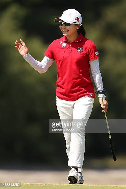 Ayako Uehara of Japan reacts after making a birdie putt on the 16th green during day one of the LPGA Australian Open at Royal Melbourne Golf Course...