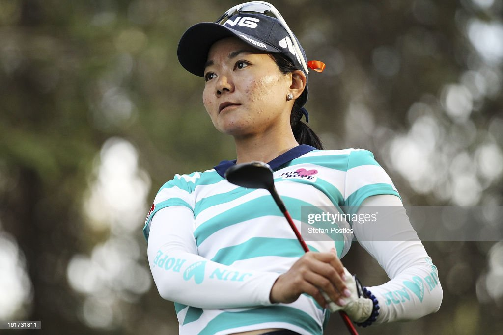 Ayako Uehara of Japan tee's off during day two of the ISPS Handa Australian Open at Royal Canberra Golf Club on February 15, 2013 in Canberra, Australia.