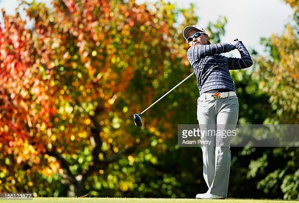 Ayako Uehara of Japan tees off from the 2nd hole during the first round of Mizuno Classic at Kintetsu Kashikojima Country Club on November 2 2012 in...