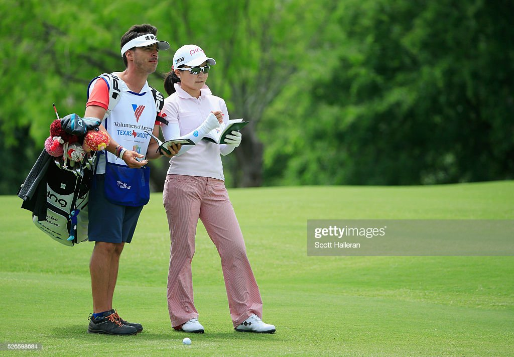 <a gi-track='captionPersonalityLinkClicked' href=/galleries/search?phrase=Ayako+Uehara+-+Golfer&family=editorial&specificpeople=4690711 ng-click='$event.stopPropagation()'>Ayako Uehara</a> of Japan waits with her caddie on the seventh hole during the third round of the Volunteers of America Texas Shootout at Las Colinas Country Club on April 30, 2016 in Irving, Texas.