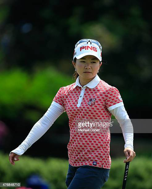 Ayako Uehara of Japan walks on the ninth green during the second round of the KPMG Women's PGA Championship held at Westchester Country Club on June...