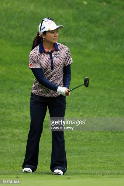 Ayako Uehara of Japan watches a putt on the twelveth hole during the first round of the Citibanamex Lorena Ochoa Match Play Presented by Aeromexico...