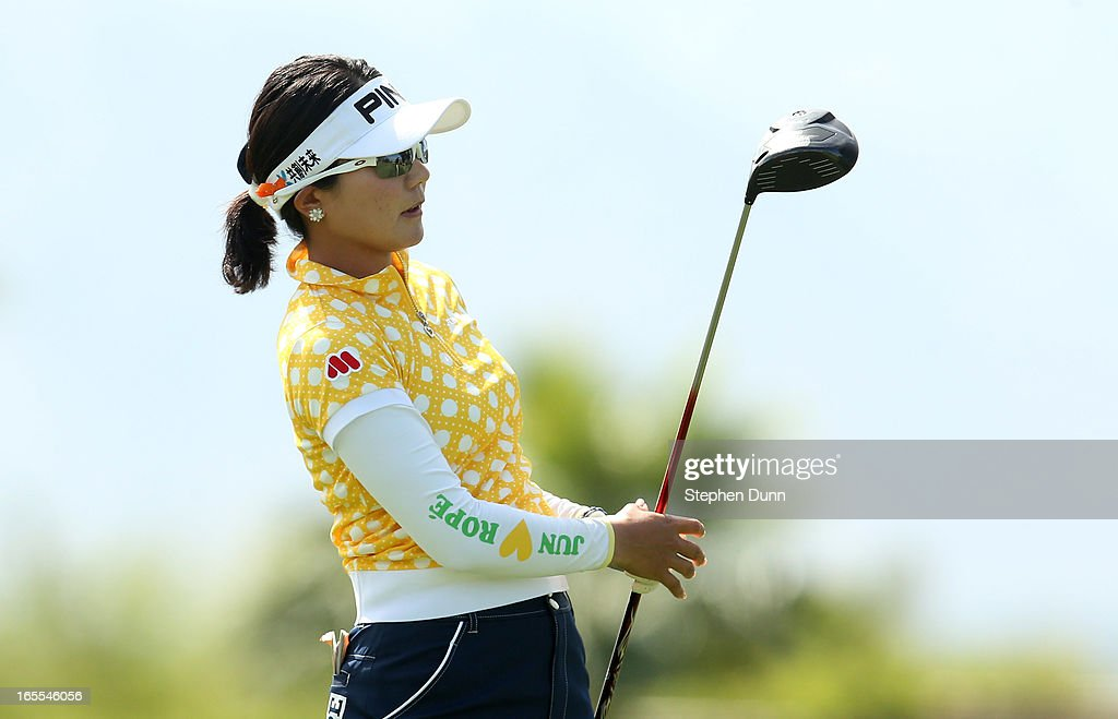 Ayako Uehara of Japan watches her tee shot on the 16th hole during the first round of the Kraft Nabisco Championship at Mission Hills Country Club on April 4, 2013 in Rancho Mirage, California.
