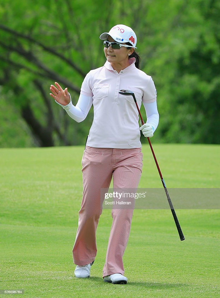 <a gi-track='captionPersonalityLinkClicked' href=/galleries/search?phrase=Ayako+Uehara+-+Golf&family=editorial&specificpeople=4690711 ng-click='$event.stopPropagation()'>Ayako Uehara</a> of Japan waves to the gallery on the seventh hole during the third round of the Volunteers of America Texas Shootout at Las Colinas Country Club on April 30, 2016 in Irving, Texas.