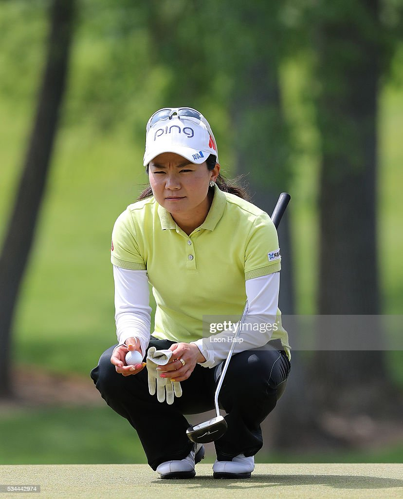 Ayako Uuhara lines up her put on the tenth green during the first round of the LPGA Volvik Championships on May 26, 2016 at Travis Pointe Country Club Ann Arbor, Michigan.