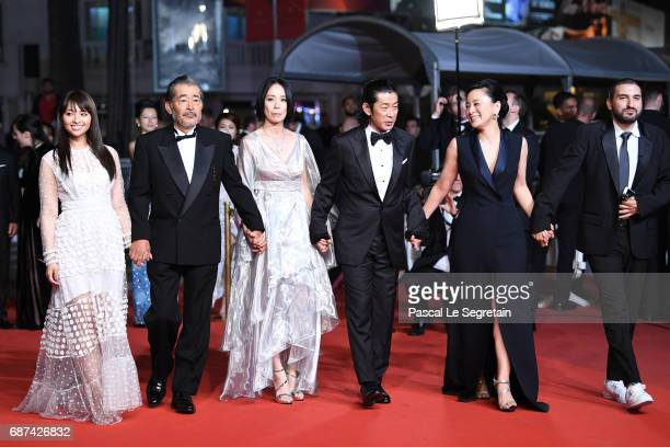 Ayame Misaki Tatsuya Fuji director Naomi Kawase Misuzu Kanno and Ibrahim Maalouf attend the 'Hikari ' screening during the 70th annual Cannes Film...
