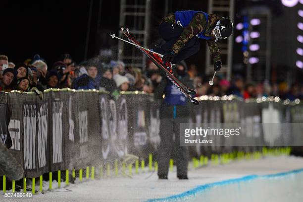 Ayana Onozuka goes for a grab in her first run during the finals of women's ski half pipe at Winter X Games 2016 at Buttermilk Mountain on January 29...