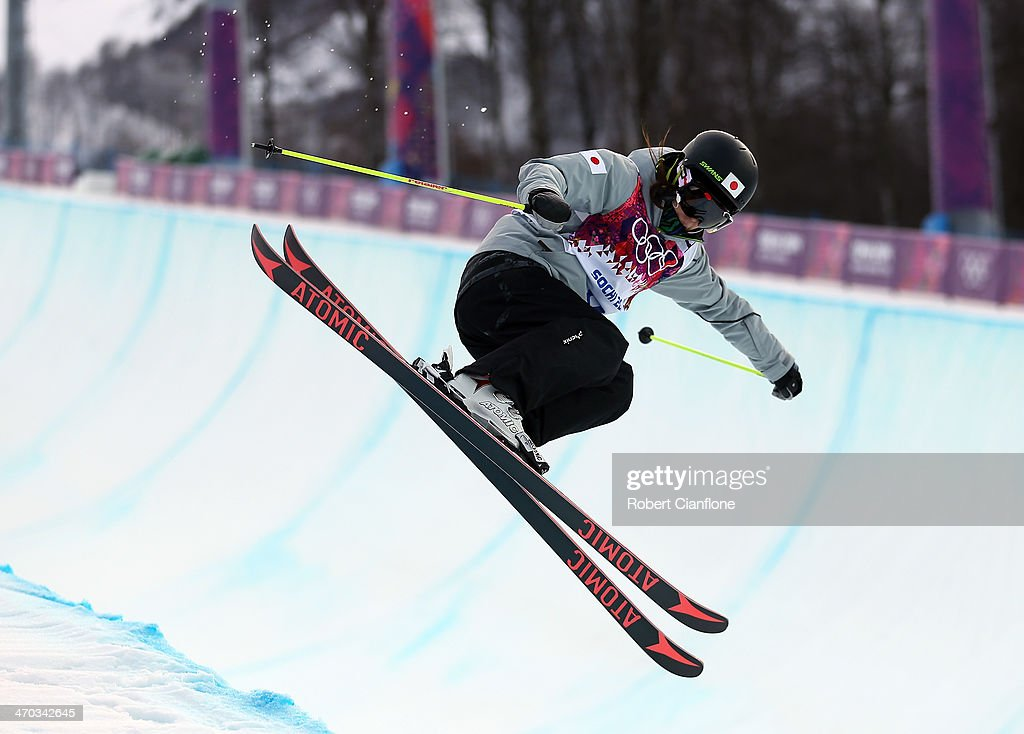 <a gi-track='captionPersonalityLinkClicked' href=/galleries/search?phrase=Ayana+Onozuka&family=editorial&specificpeople=9028067 ng-click='$event.stopPropagation()'>Ayana Onozuka</a> of Japan is seen in action during a Freestyle Skiing training session at Rosa Khutor Extreme Park on day 12 of the Sochi Winter Olympics on February 19, 2014 in Sochi, Russia.