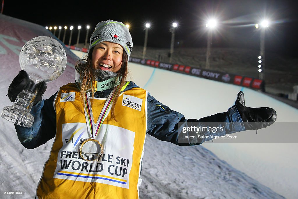 <a gi-track='captionPersonalityLinkClicked' href=/galleries/search?phrase=Ayana+Onozuka&family=editorial&specificpeople=9028067 ng-click='$event.stopPropagation()'>Ayana Onozuka</a> of Japan of Pays wins the globe in the overall standings during the FIS Freestyle Ski World Cup, Men's and Women's Halfpipe Final on March 10, 2016 in Tignes, France.
