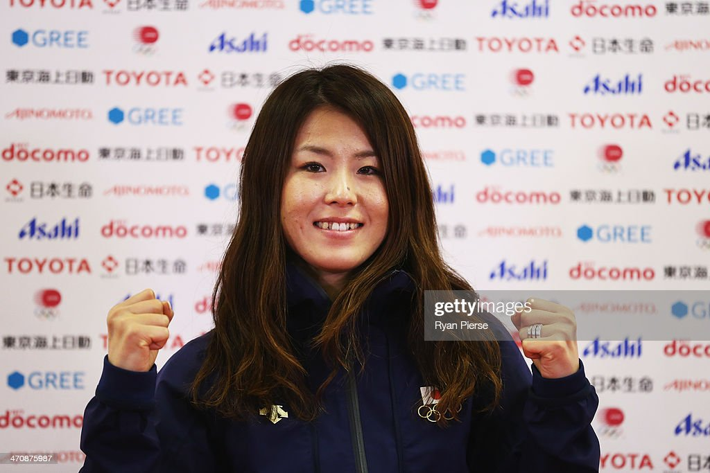 <a gi-track='captionPersonalityLinkClicked' href=/galleries/search?phrase=Ayana+Onozuka&family=editorial&specificpeople=9028067 ng-click='$event.stopPropagation()'>Ayana Onozuka</a> of Japan speaks during a press conference at Japan House on February 21, 2014 in Sochi, Russia.