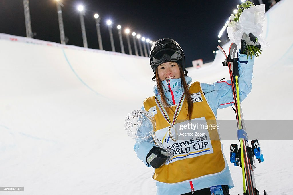 <a gi-track='captionPersonalityLinkClicked' href=/galleries/search?phrase=Ayana+Onozuka&family=editorial&specificpeople=9028067 ng-click='$event.stopPropagation()'>Ayana Onozuka</a> of Japan takes 2nd place and wins the overall globe for the FIS Freestyle Halfpipe during the FIS Freestyle World Cup Finals 2015 Men's and Women's Halfpipe on March 12, 2015 in Tignes, France.
