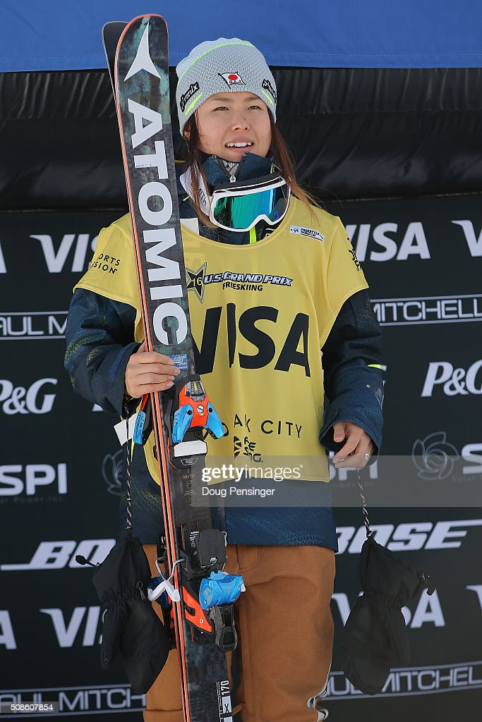 <a gi-track='captionPersonalityLinkClicked' href=/galleries/search?phrase=Ayana+Onozuka&family=editorial&specificpeople=9028067 ng-click='$event.stopPropagation()'>Ayana Onozuka</a> of Japan takes the podium after earning the ladies' World Cup overall points leaders' bib in the FIS Freestyle Ski Halfpipe World Cup at the 2016 Visa U.S. Freeskiing Park City Grand Prix on February 5, 2016 in Park City, Utah.