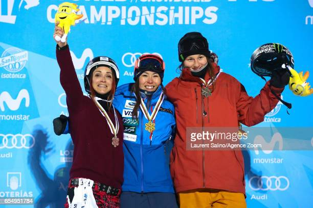 Ayana Onozuka of Japan wins the gold medal Marie Martinod of France wins the silver medal Devin Logan of USA wins the bronze medal during the FIS...