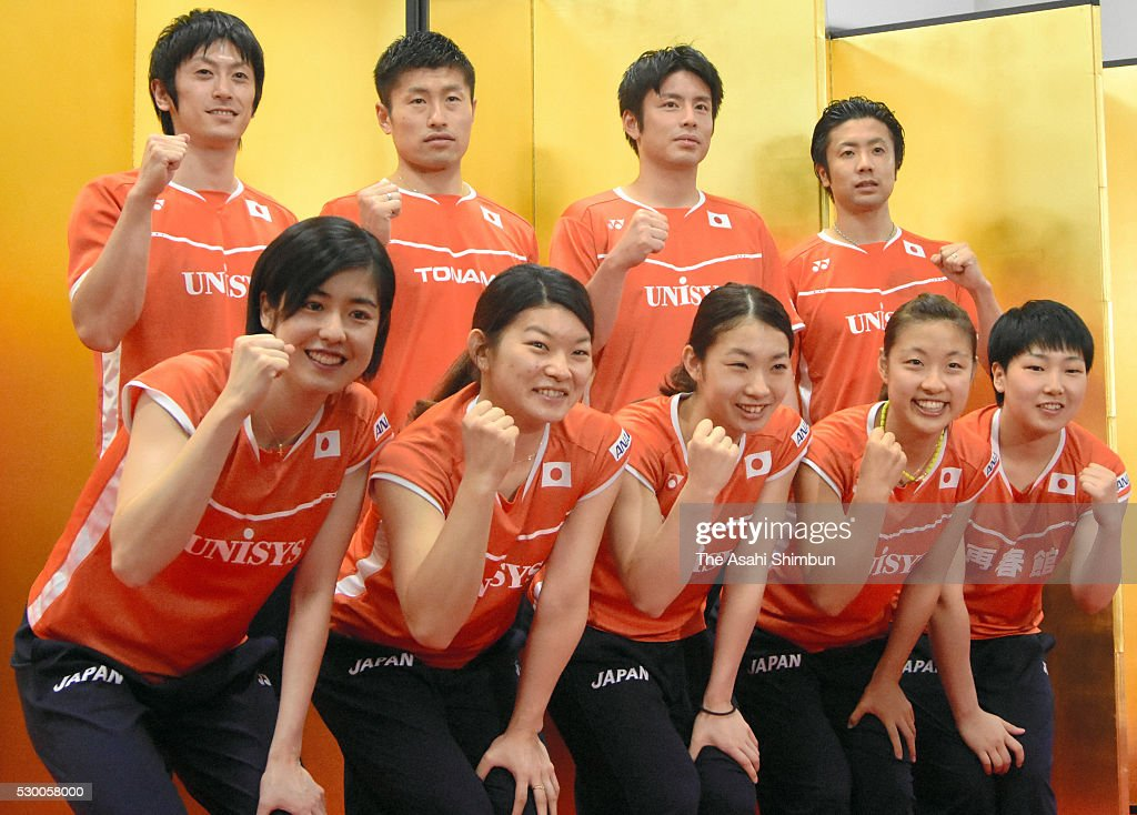 <a gi-track='captionPersonalityLinkClicked' href=/galleries/search?phrase=Ayane+Kurihara&family=editorial&specificpeople=8290889 ng-click='$event.stopPropagation()'>Ayane Kurihara</a>, Reika Takahashi, <a gi-track='captionPersonalityLinkClicked' href=/galleries/search?phrase=Misaki+Matsutomo&family=editorial&specificpeople=6831788 ng-click='$event.stopPropagation()'>Misaki Matsutomo</a>, <a gi-track='captionPersonalityLinkClicked' href=/galleries/search?phrase=Nozomi+Okuhara&family=editorial&specificpeople=8294661 ng-click='$event.stopPropagation()'>Nozomi Okuhara</a> and <a gi-track='captionPersonalityLinkClicked' href=/galleries/search?phrase=Akane+Yamaguchi&family=editorial&specificpeople=11382505 ng-click='$event.stopPropagation()'>Akane Yamaguchi</a> (back row, L to R) <a gi-track='captionPersonalityLinkClicked' href=/galleries/search?phrase=Kenta+Kazuno&family=editorial&specificpeople=3056383 ng-click='$event.stopPropagation()'>Kenta Kazuno</a>, <a gi-track='captionPersonalityLinkClicked' href=/galleries/search?phrase=Sho+Sasaki&family=editorial&specificpeople=663593 ng-click='$event.stopPropagation()'>Sho Sasaki</a>, <a gi-track='captionPersonalityLinkClicked' href=/galleries/search?phrase=Kenichi+Hayakawa&family=editorial&specificpeople=5851276 ng-click='$event.stopPropagation()'>Kenichi Hayakawa</a> and <a gi-track='captionPersonalityLinkClicked' href=/galleries/search?phrase=Hiroyuki+Endo&family=editorial&specificpeople=5530229 ng-click='$event.stopPropagation()'>Hiroyuki Endo</a> during the Rio de Janeiro Olympic Japan badminton team announcement on May 9, 2016 in Tokyo, Japan.