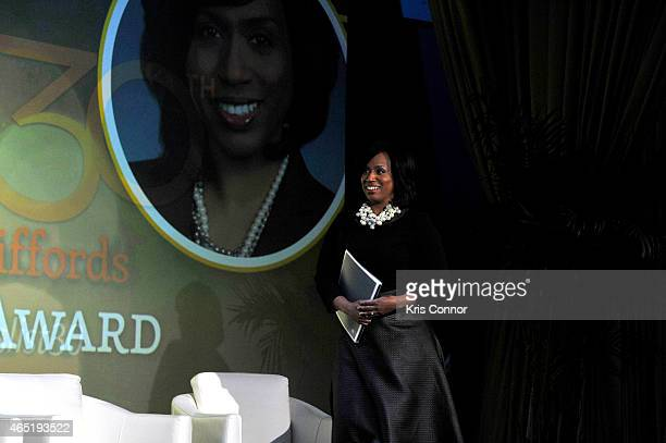 Ayanna Pressley walks onstage at EMILY's List 30th Anniversary Gala at Washington Hilton on March 3 2015 in Washington DC