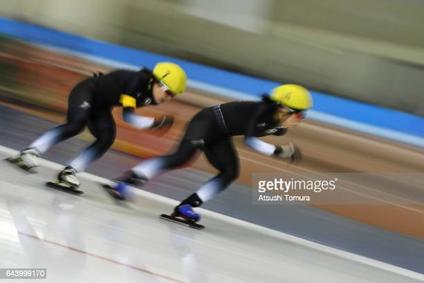 Ayano Sato and Miho Takagi of Japan compete in the speed skating ladies mass start on the day six of the 2017 Sapporo Asian Winter Games at Obihiro...