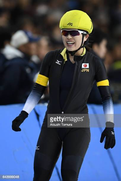 Ayano Sato of Japan celebrates after finshing the speed skating ladies mass start on the day six of the 2017 Sapporo Asian Winter Games at Obihiro...
