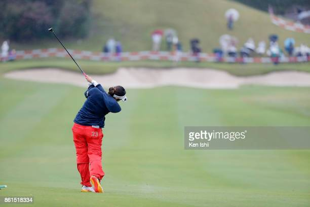 Ayano Yasuda of Japan hits a shot on the 18 hole during the final round of the Udonken Ladies at the Mannou Hills Country Club on October 15 2017 in...