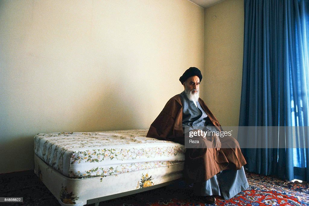 <a gi-track='captionPersonalityLinkClicked' href=/galleries/search?phrase=Ayatollah+Khomeini&family=editorial&specificpeople=226737 ng-click='$event.stopPropagation()'>Ayatollah Khomeini</a>, the religious leader of the 1979 Iranian revolution, shortly after his arrival in Tehran, in the bedroom of his first house.