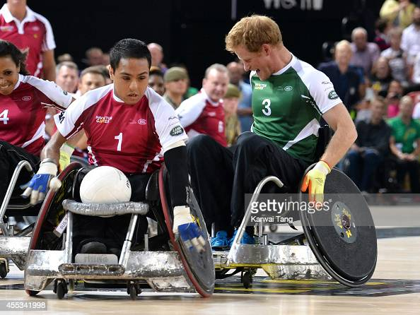 Ayaz Bhuta and Prince Harry in action today during an exhibition match of wheelchair rugby at the Invictus Games at Copperbox Queen Elizabeth Park on...