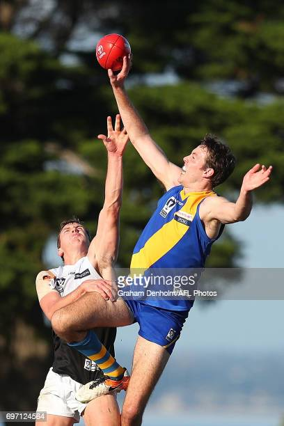 Ayce Cordy of Williamstown leaps for the ball during the round nine VFL match between Williamstown and North Ballarat at Burbank Oval on June 18 2017...