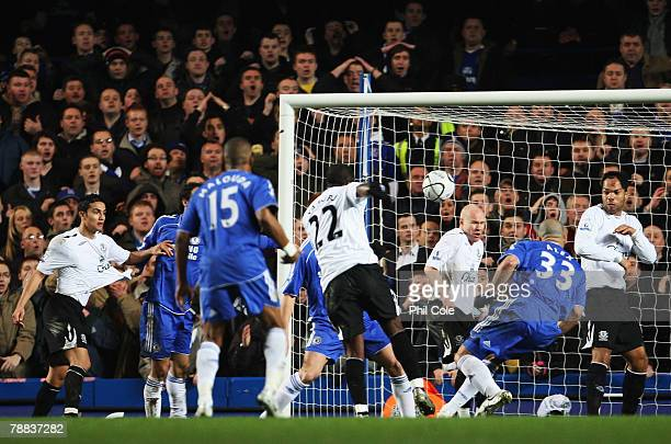 Ayegbeni Yakubu of Everton scores a goal during the Carling Cup Semi Final 1st leg match between Chelsea and Everton at Stamford Bridge on January 8...
