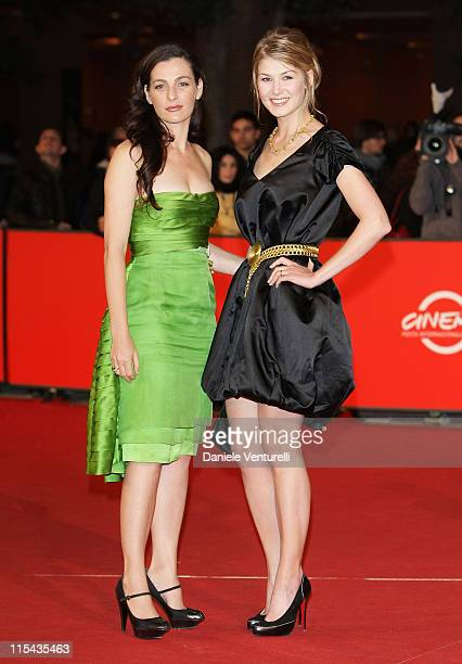 Ayelet Zurer and Rosamund Pike attend the 'Fugitive Pieces' premiere during Day 3 of the 2nd Rome Film Festival on October 20 2007 in Rome Italy