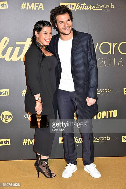 Ayem Nour and Amir attend The Melty Future Awards 2016 at Le Grand Rex on February 16 2016 in Paris France